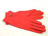 Перчатки женские шерсть с ангорой красного цвета