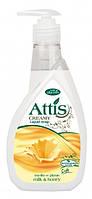 Мыло жидкое с глицерином Attis молоко с медом 400мл