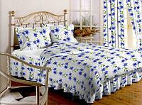 Комплект постельного белья TM Nostra Бязь Голд бело-синие лилии Двуспальный евро комплект