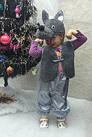 Детский новогодний костюм для девочки и мальчика Волк серый от 3 до 7 лет
