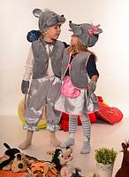 Детский новогодний костюм для мальчика Мышка серый от 3 до 7 лет