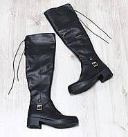 Зимние натуральные кожаные ботфорты на шнурочках