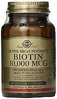 Биотин Solgar, высокоэффективный, 10 000 мкг, 60 капсул