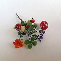 Ягоды на проволочке и травка 12 шт., фото 1