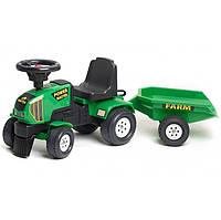 Трактор каталка POWER MASTER с прицепом Falk зеленый