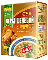 Суп вермишелевый со вкусом курицы в пакетиках (3 в 1)