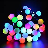 Гирлянда светодиодная нить шарики, 100 led  черный провод  - разноцветная