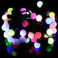 Гирлянда светодиодная нить шарики, 40 led  черный провод  - разноцветная