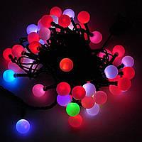 Гирлянда светодиодная нить шарики, 200 led  черный провод  - разноцветная