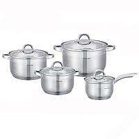 Набор посуды 8 предметов (ковш 2.1л; кастрюле 2.9л, 3.9л, 6.5л) из нержавеющей стали Kamille 5632S