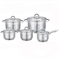 Набор посуды 10 предметов (ковш 2.1л; кастрюле 2.1л, 2.9л, 3.9л, 6.5л) из нержавеющей стали Kamille 5633S