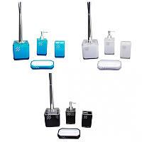 Набор акриловых аксессуаров (дозатор мыла, стакан для щеток, мыльница, ерш; белый, голубой, черный Besser 8001