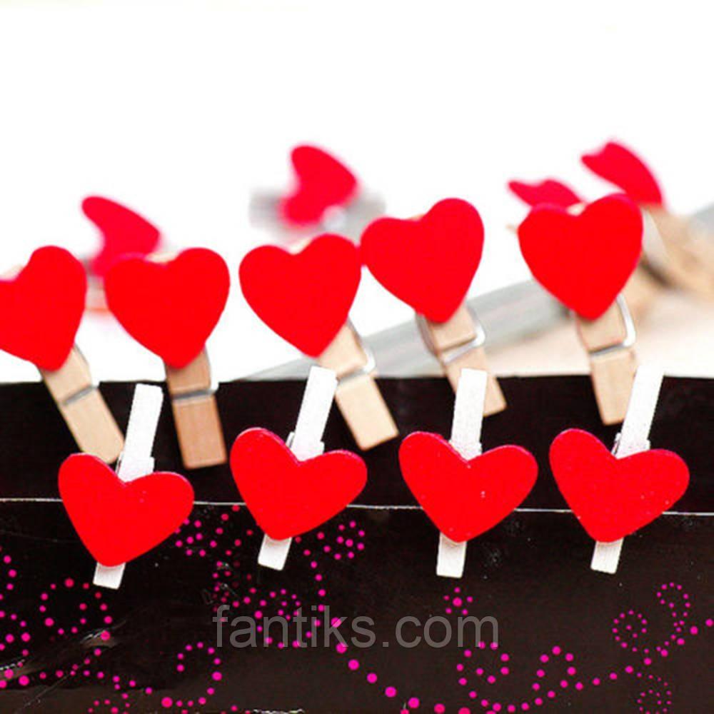 Набор прищепок-сердечек для декора -10 шт.