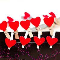 Набор прищепок-сердечек для декора -10 шт., фото 1