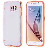 Чехол TPU+PC прозрачный светящийся в темноте для Samsung Galaxy S7 оранжевый, фото 1