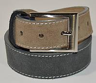 Ремень мужской кожаный универсальный Bond Non 4548-1309 серый замшевый