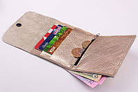 Кожаный кошелек, золотистого цвета, фото 1
