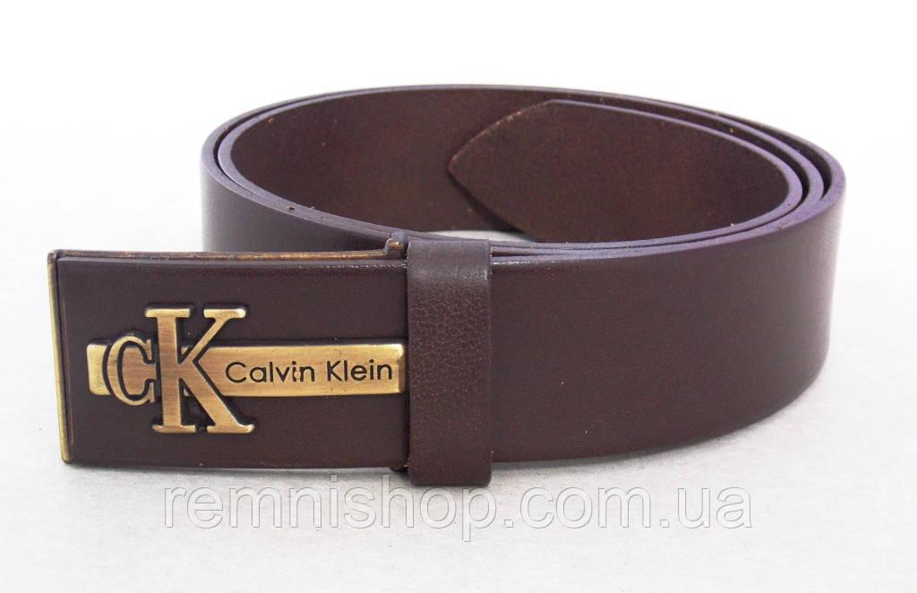 Мужской кожаный ремень для джинс Calvin Klein коричневый