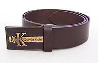 Мужской кожаный ремень для джинс Calvin Klein коричневый, фото 1