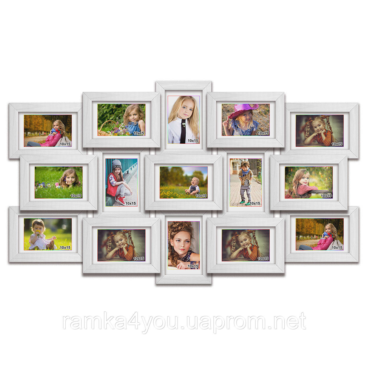 Мультирамка-коллаж Елизавета на 15 фотографий 10х15 белая премиум
