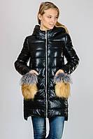 Зимняя женская куртка пуховик с накладными карманами из эко-кожи Zilanliya