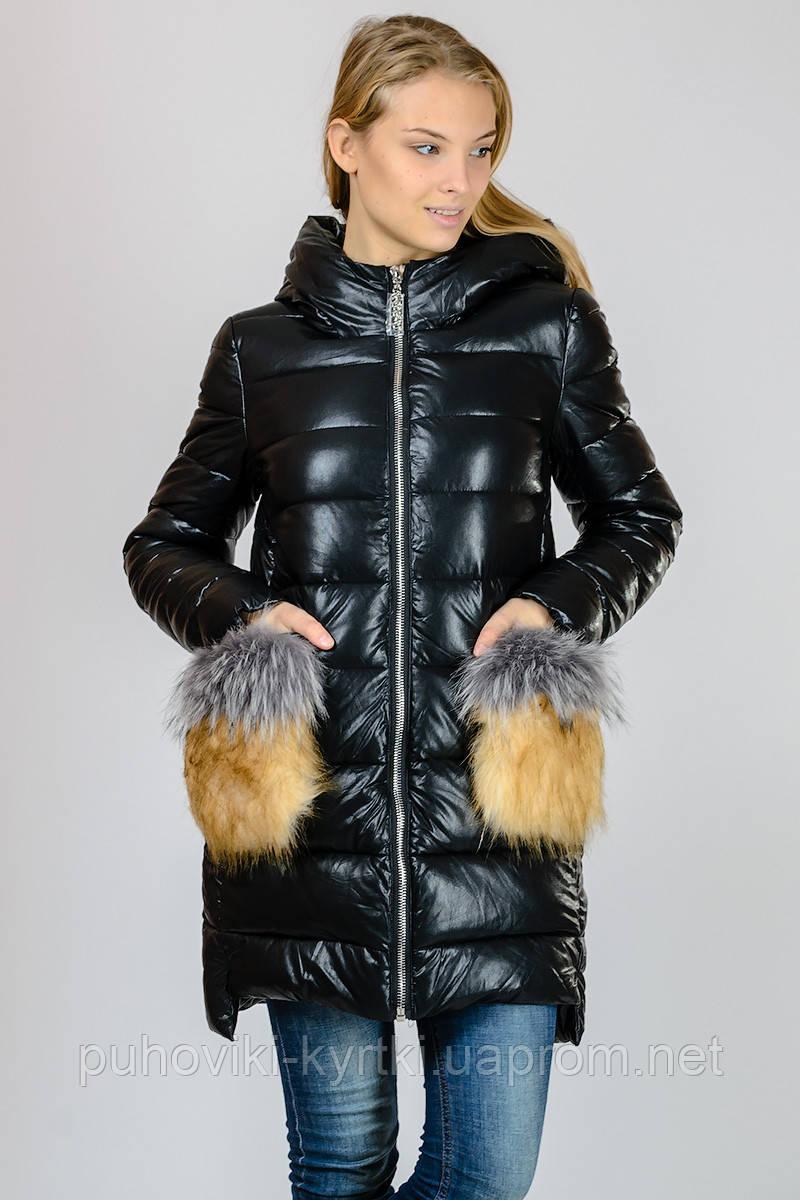 42bc5e63740 Зимняя женская куртка пуховик с накладными карманами из эко-кожи Zilanliya  - Интернет-магазин