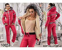 Теплый костюм до 48 размера плащевка на сентипоне подклад мех овчина цвет красный