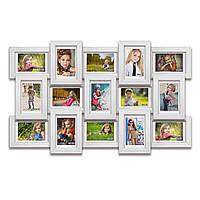 Мультирамка-коллаж Классическая на 15 фотографий 10х15 белая премиум