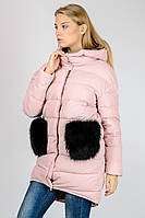 Зимняя женская стильная куртка пуховик с капюшоном накладными карманами Zilanliya