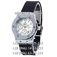 Кварцевые часы Hublot SSB-1012-0163 женские черные каучуковые без стразов   классика