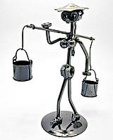 Техно-арт статуэтка Девушка и коромысло металл, фото 1
