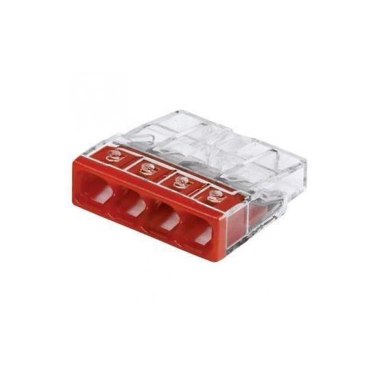 2273-244 Клема 4-конт COMPACT моножильн.2.5кв.. д.распред. коробок,прозр.-красн..+ПАСТА