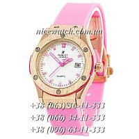 Кварцевые часы Hublot SSB-1012-0162 женские розовые каучуковые без стразов   классика