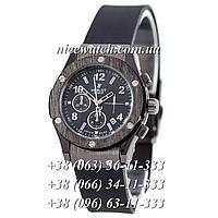 Кварцевые часы Hublot SSB-1012-0161 женские черные каучуковые без стразов   классика