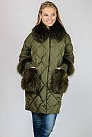 Зимняя женская куртка стеганная удлиненная с натуральным мехом воротник стойка Zilanliya