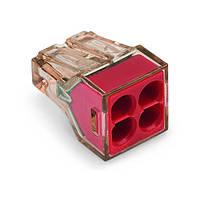 773-604 Клема 4-конт моножильн.4кв.. д.распред. коробок,прозр.-красн.