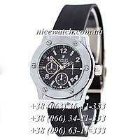 Кварцевые часы Hublot SSB-1012-0160 женские черные каучуковые без стразов   классика