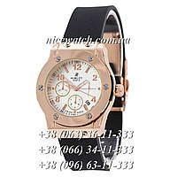 Кварцевые часы Hublot SSB-1012-0159 женские черные каучуковые без стразов   классика