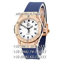Кварцевые часы Hublot SSB-1012-0154 женские синие каучуковые без стразов   классические под метал