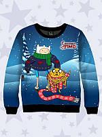 Модный 3D-свитшот/толстовка для деток на флисе с красочным новогодним 3D-рисунком Christmas Time.