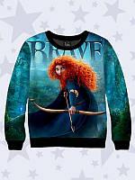 3D-свитшот/реглан на флисе Brave с красочным диснеевским рисунком, для маленьких модниц.