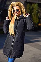 Женский теплый удлиненный пуховик на синтепоне 250 с мехом цвет темно-синий