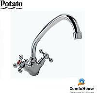 Смеситель для кухни Potato P4161 (высокий излив, буксовый)