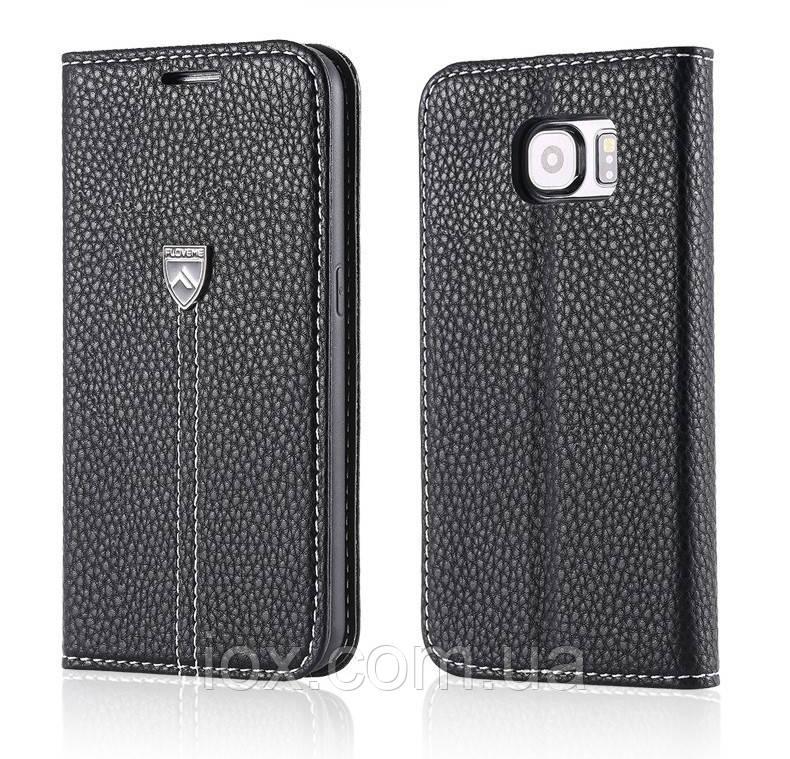Оригинальная черная кожаная чехол-книжка Floveme  для Samsung Galaxy S6