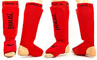 Защита стопы и голени эластан с липучкой Everlast красная