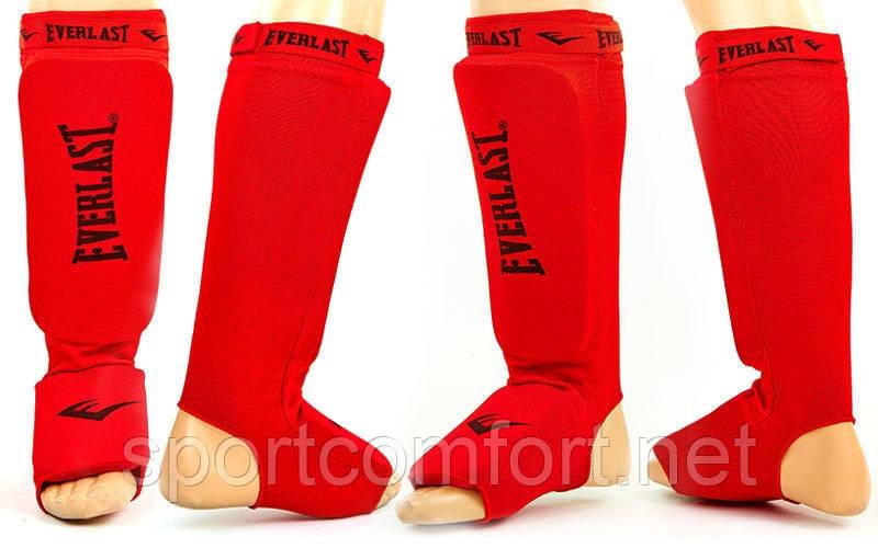 Защита стопы и голени эластан с липучкой Everlast красная реплика