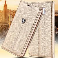 Оригинальная золотистая кожаная чехол-книжка Floveme  для Samsung Galaxy S6