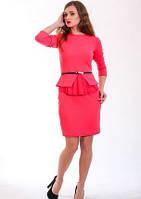 Платье женское классическое модное Жаклин размеры  44, 46, 48, 50, 52  кораловое