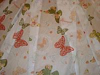 Гардина, тюль лен белый с рисунком Butterfly