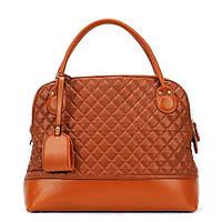 Большая женская сумка Стеганая с брелком рыжая